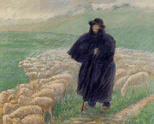 Shepherd in a Downpour — Камиль Писсарро