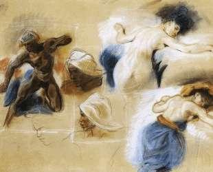 Набросок для картины 'Смерть Сарданапала' — Эжен Делакруа