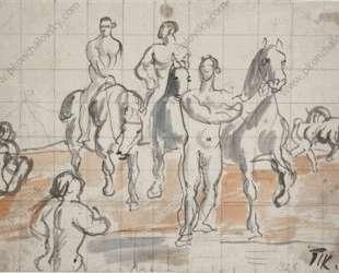 Эскиз композиции для картины 'Купание конницы' — Пётр Кончаловский