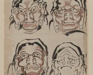 Sketch of Four Faces — Кацусика Хокусай