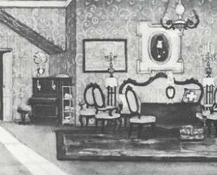 Sketch of Gorky's play 'Egor Bulychov and others'. Crimson dining room — Константин Юон