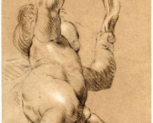 Sketch of Putto Holding a Sash in Both Hands, Seen from Below — Джошуа Рейнольдс