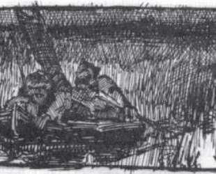 Sketch of two hunters in boat — Николай Рерих