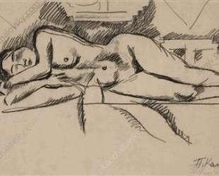 Спящая натурщица (натурщица на ковре) — Пётр Кончаловский
