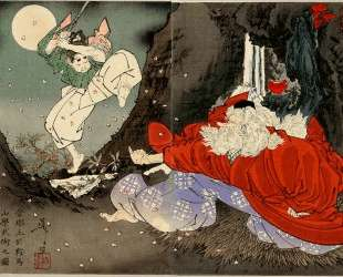Sojobo Instructs Yoshitsune in the Sword — Цукиока Ёситоси