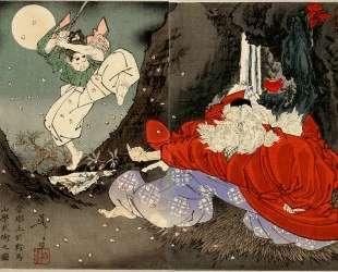 Sojobo Instructs Yoshitsune in the Sword — Цукиока Ёситоси
