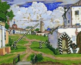 Площадь на выезде из города — Борис Кустодиев