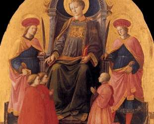 St. Lawrence Enthroned with Saints and Donors — Филиппо Липпи