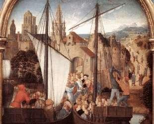 Св. Урсула и её спутники высаживаются в Базеле (Рака Св. Урсулы) — Ганс Мемлинг