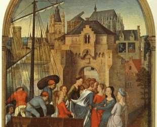 Св. Урсула и её спутники высаживаются в Кельне (Рака Св. Урсулы) — Ганс Мемлинг