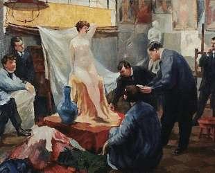 Постановка натуры в мастерской И. Е.Репина — Борис Кустодиев