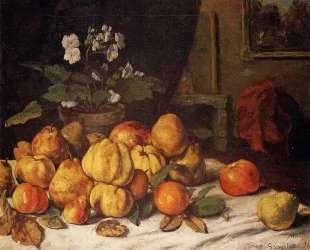 Натюрморт. Яблоки, груши и цветы на столе. Сент-Пелажи — Гюстав Курбе