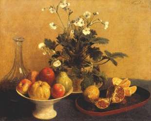 Still life. Flowers, Bowl of Fruit and Pitcher — Анри Фантен-Латур