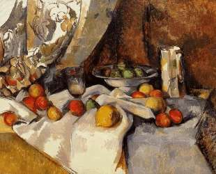Still Life Post, Bottle, Cup and Fruit — Поль Сезанн