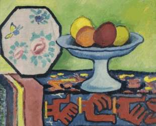 Still life with bowl of apples and Japanese fan — Август Маке