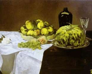 Still life with melon and peaches — Эдуард Мане
