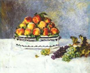 Still life with peaches and grapes — Пьер Огюст Ренуар