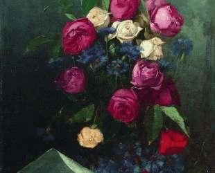 Натюрморт с розами и васильками — Константин Маковский