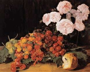 Still life with roses, strawberries, and bread — Фердинанд Георг Вальдмюллер