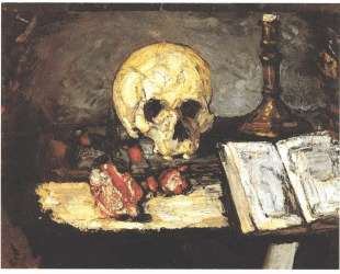 Still life with skull, candle and book — Поль Сезанн