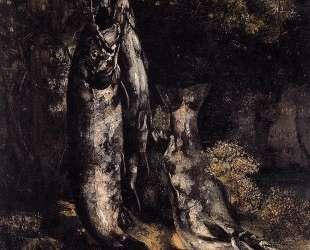Натюрморт с тремя форелями из реки Лу — Гюстав Курбе