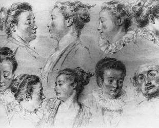 Studies of Women's Heads — Антуан Ватто