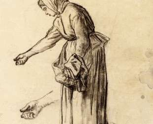 Этюд для «Женщины, кормящей цыплят» — Жан-Франсуа Милле