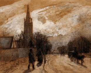 Study for 'All Saints' Church, Upper Norwood' — Камиль Писсарро