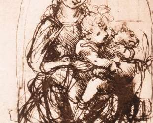 Study of the Madonna and Child with a Cat — Леонардо да Винчи