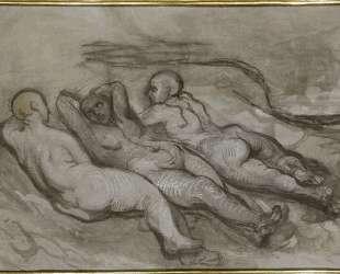Этюд трёх обнаженных, лежащих у подножия скалы — Оноре Домье