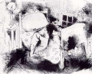 Чичиков в постели — Марк Шагал