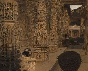 The colonnade in the Jain temple at Mount Abu in the evening — Василий Верещагин