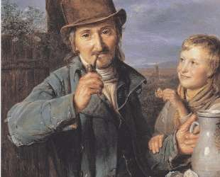 The day laborer with his son — Фердинанд Георг Вальдмюллер