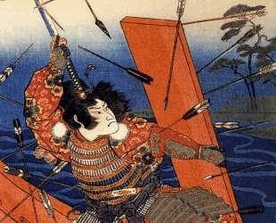 The death of Nitta Yoshioki at the Yaguchi ferry — Утагава Куниёси