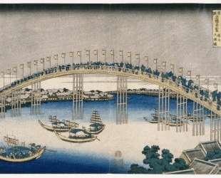 The Festival of Lanterns on Temma Bridge — Кацусика Хокусай