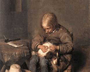 The Flea-Catcher (Boy with his Dog) — Герард Терборх