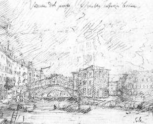 The Grand Canal nethe Ponte del Rialto — Каналетто