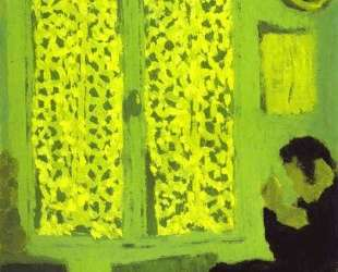 The Green Interior or Figure in front of a Window with Drawn — Эдуар Вюйар