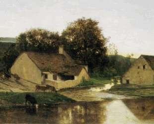 Деревушка в Оптево утром — Шарль-Франсуа Добиньи