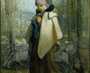 Пастушка за вязаньем — Жан-Франсуа Милле