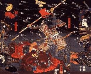 The last stand of the Kusunoki at Shijonawate — Утагава Куниёси