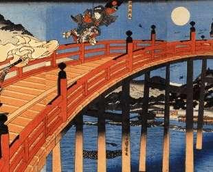 The moonlight fight between Yoshitsune and Benkei on the Gojobashi — Утагава Куниёси