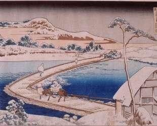 The pontoon bridge at Sano in the province of Kozuka — Кацусика Хокусай