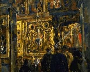 Служба в Софийском соборе — Пётр Кончаловский