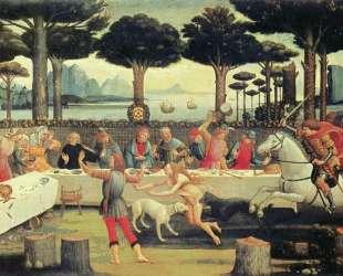 История Настаджио дельи Онест — пир в сосновом лесу — Сандро Ботичелли