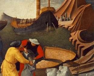 История Св. Николая. Св. Николай спасает корабль (деталь) — Фра Анджелико