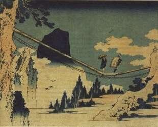 The Suspension Bridge Between Hida and Etchu — Кацусика Хокусай