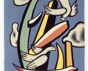 The white birds on blue background — Фернан Леже
