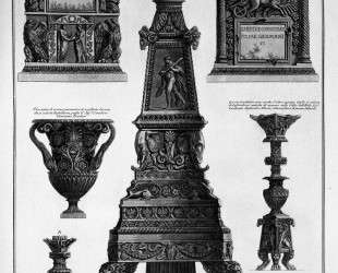 Three candlesticks, a vase and two stones — Джованни Баттиста Пиранези