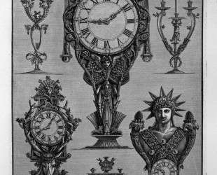 Three clocks and three candelabra — Джованни Баттиста Пиранези